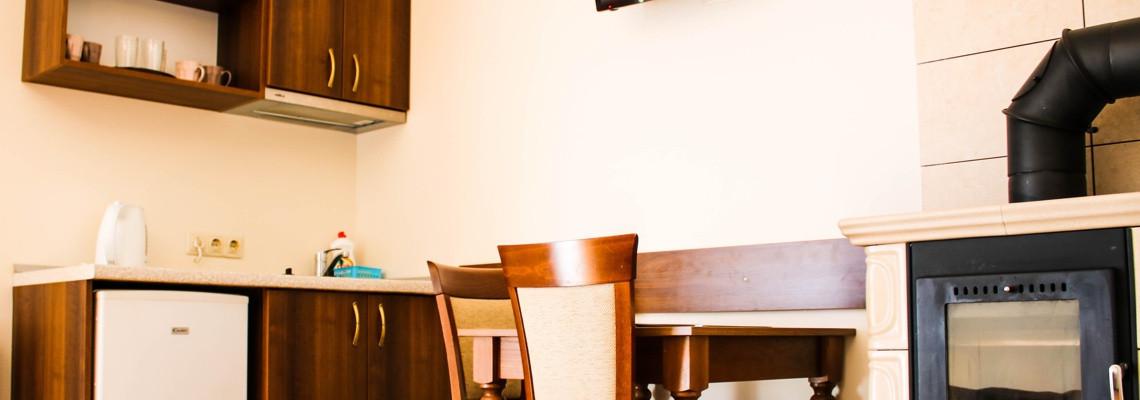 Apartamentai su virtuve, židiniu ir lauko terasa